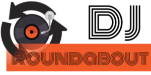 DJ roundabout logo, represents a vinyl at the center of a roundabout.